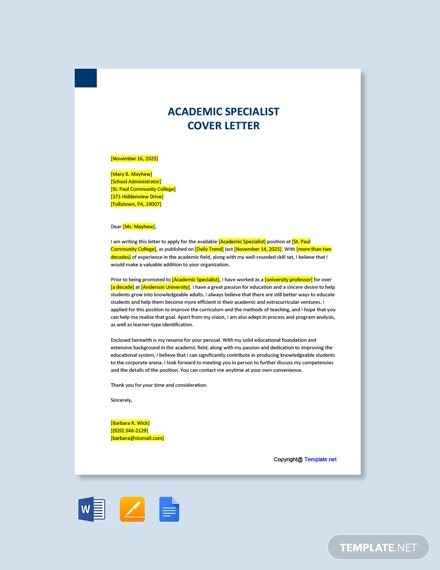 Free Academic Specialist Cover Letter Template