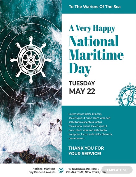 National Maritime Day Poster Template