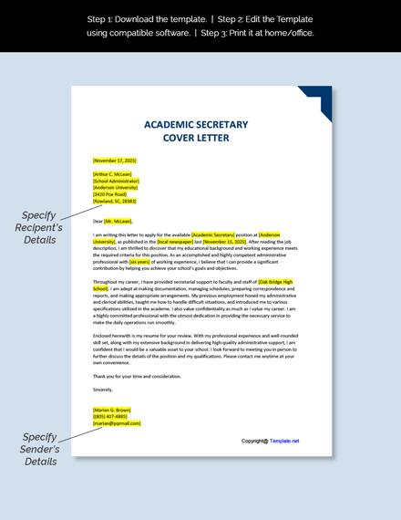 Academic Secretary Cover Letter Template