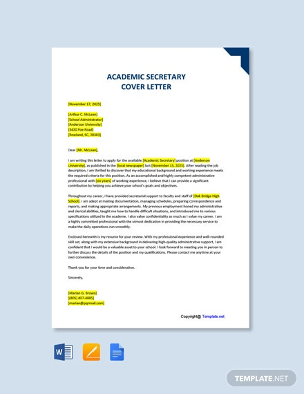 Free Academic Secretary Cover Letter Template