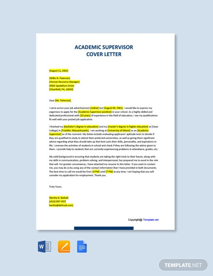 Free Academic Supervisor Cover Letter Template