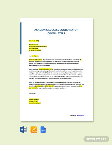 Free Academic Success Coordinator Cover Letter Template