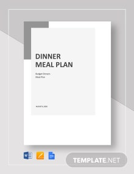 Dinner Meal Plan Template