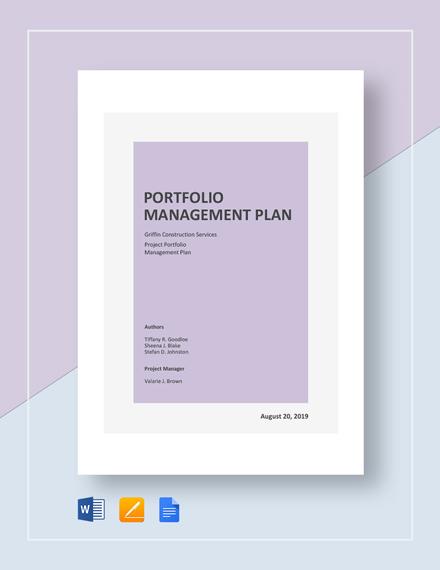 Portfolio Management Plan Template