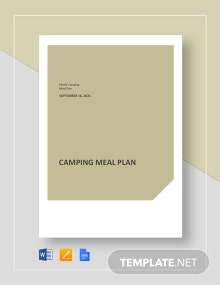 Camping Meal Plan Template