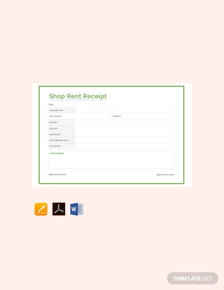 Free Shop Rent Receipt Format Template