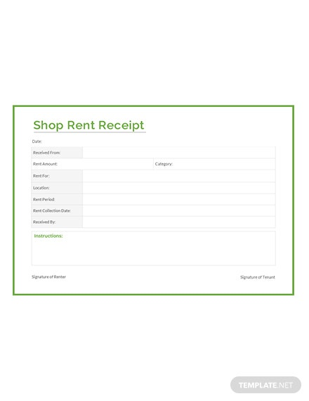 Shop Rent Receipt Template