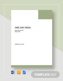 One Day Meal Plan Template