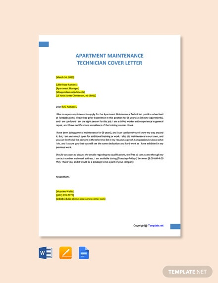 Free Apartment Maintenance Technician Cover Letter Template