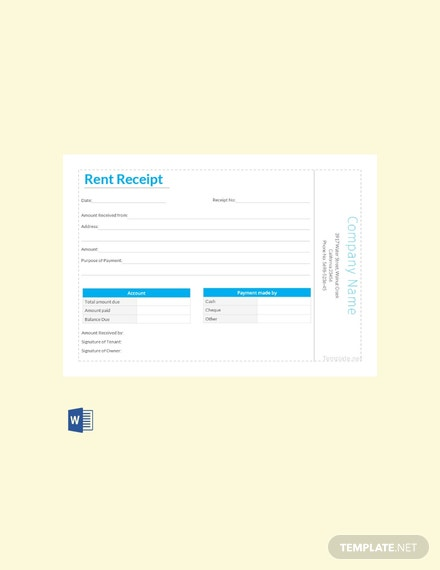 Free Simple Rent Receipt Template