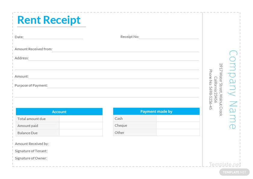 simple rent receipt template in microsoft word excel template net