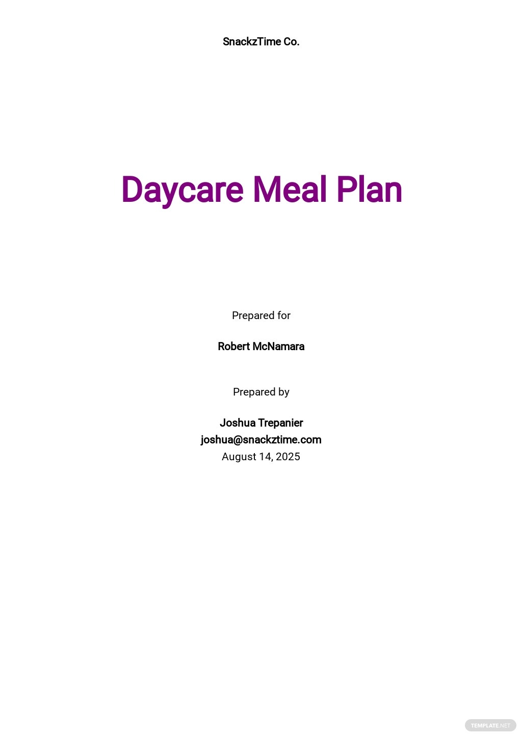 Daycare Meal Plan Template