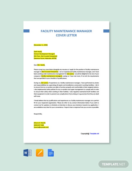 Free Facility Maintenance Manager Cover Letter Template