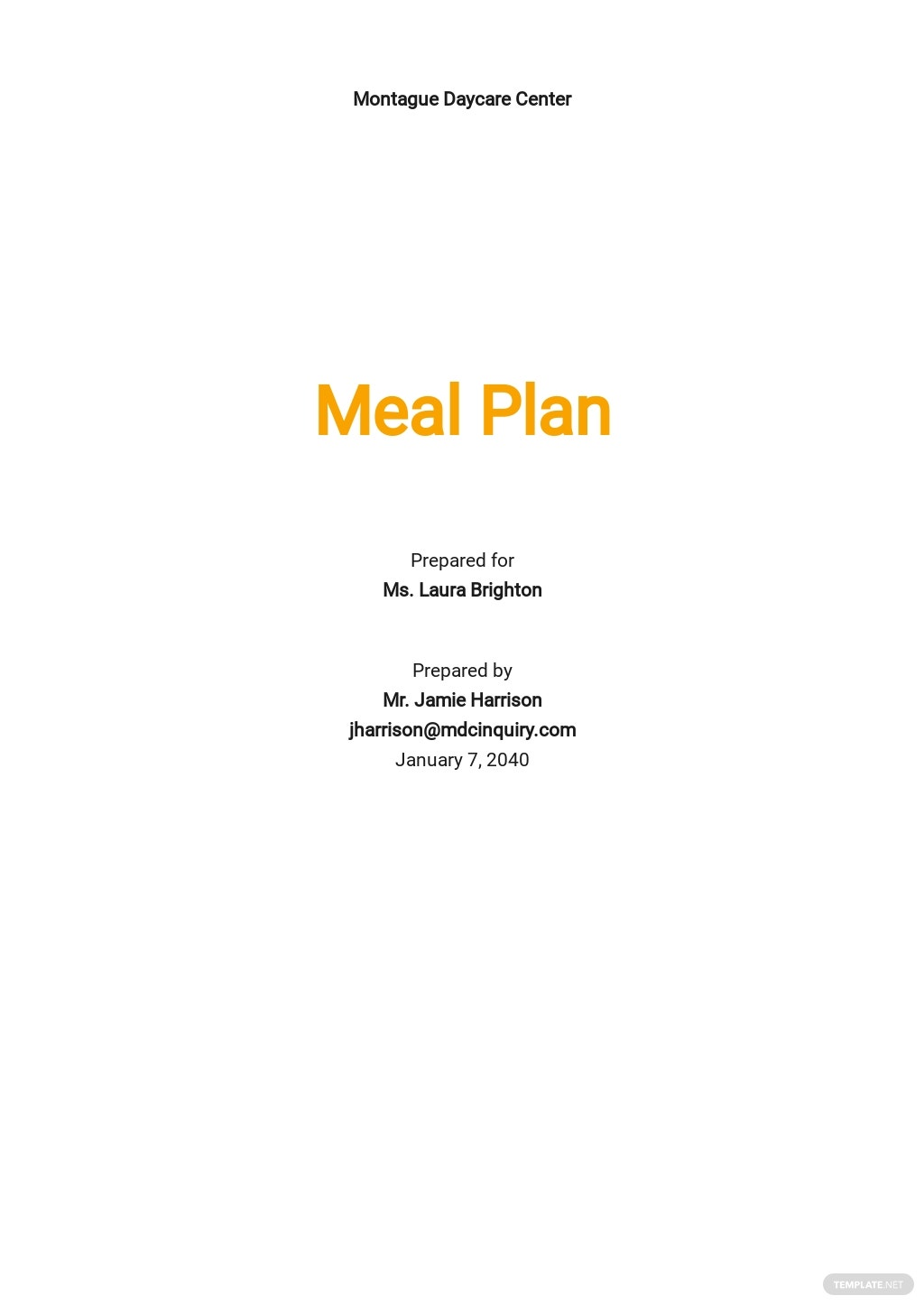 Child Care Meal Plan Template [Free PDF] - Google Docs, Word, Apple Pages, PDF