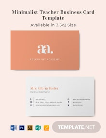 Minimal Teacher Business Card Template