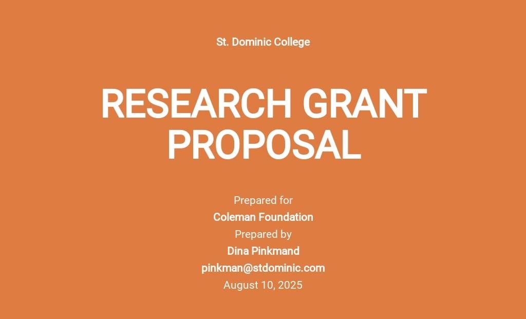 Sample Grant Proposal Template