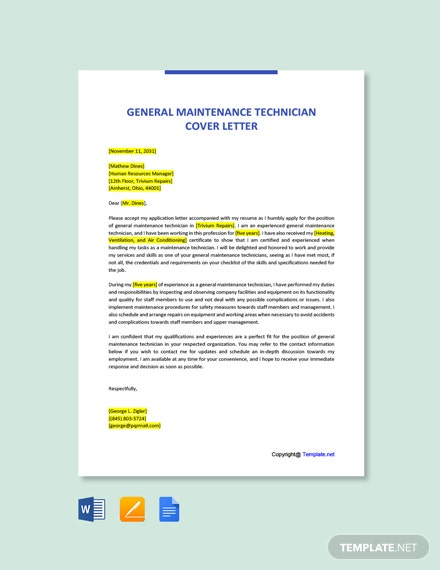 Free General Maintenance Technician Cover Letter Template