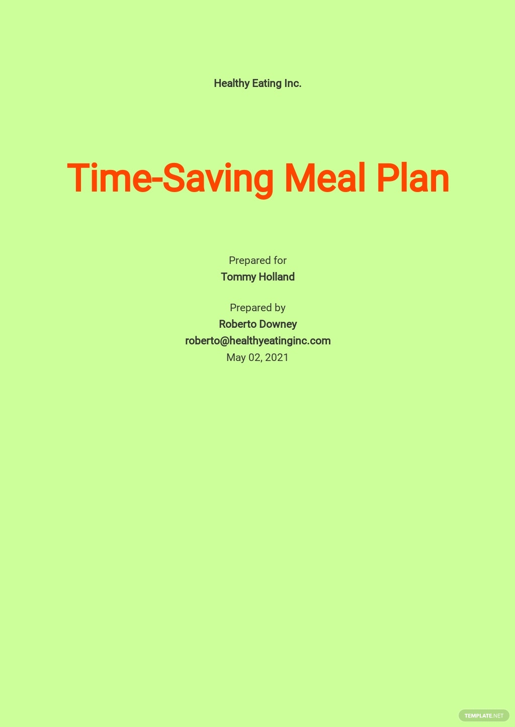 Sample Meal Plan Template [Free PDF] - Google Docs, Word, Apple Pages, PDF