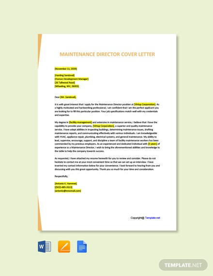 Free Maintenance Director Cover Letter Template
