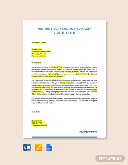 Free Property Maintenance Manager Cover Letter Template