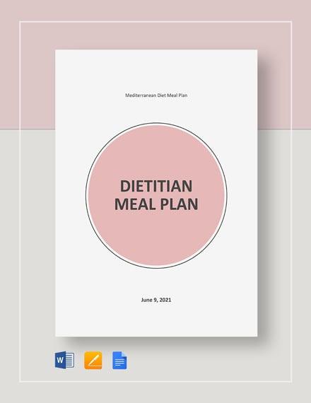 Dietitian Meal Plan Template