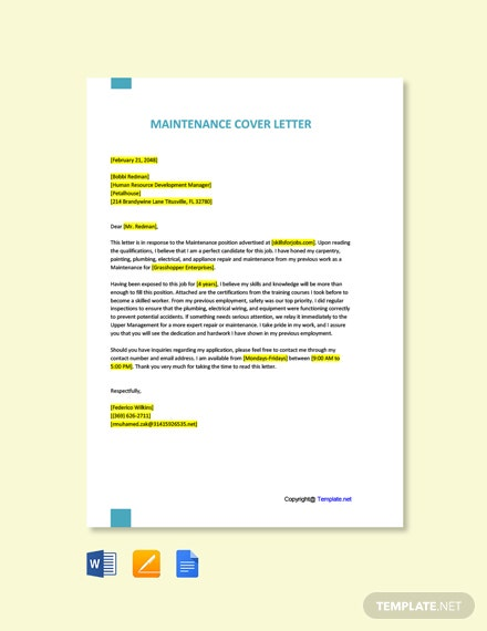Free Maintenance Cover Letter Template