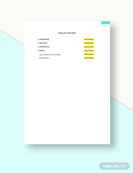 Easy Meal Plan Template