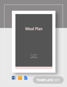 Free Editable Meal Plan Template