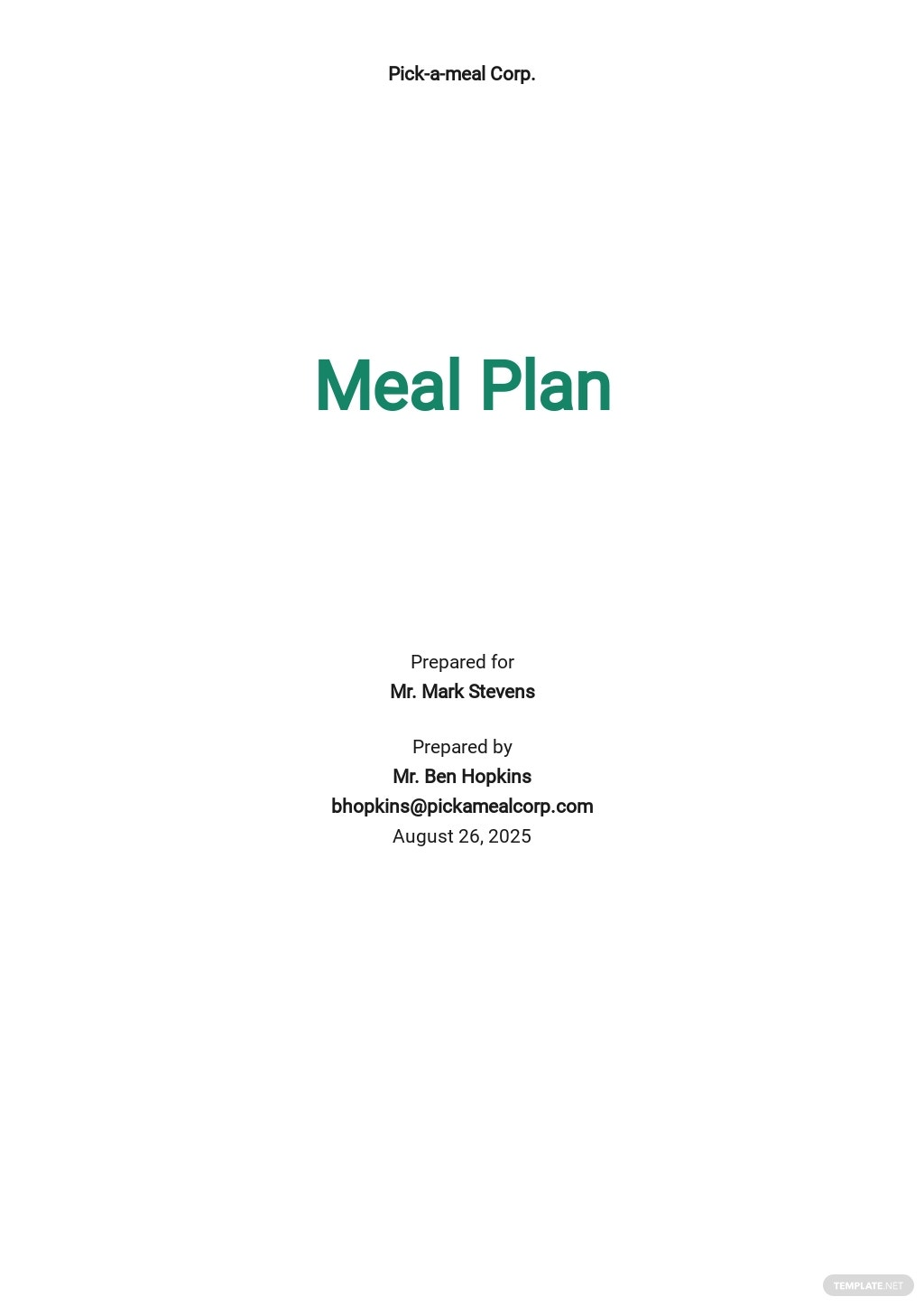 Editable Meal Plan Template