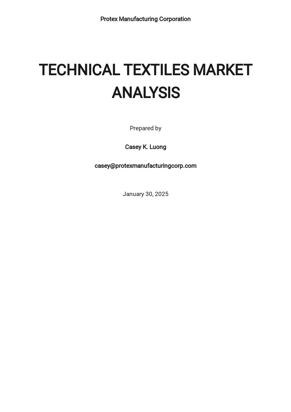 Technical Textiles Market Analysis Template