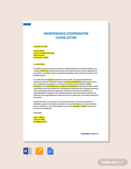 Free Maintenance Coordinator Cover Letter Template