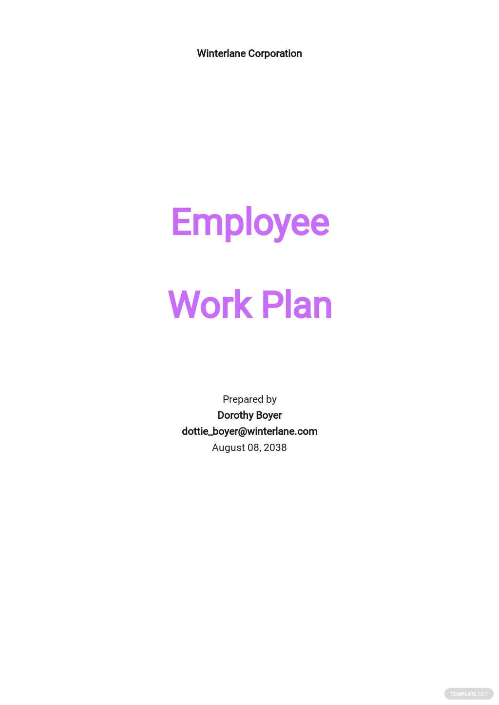 Project Management Work Plan Template