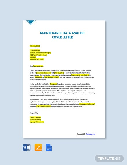 Free Maintenance Data Analyst Cover Letter Template