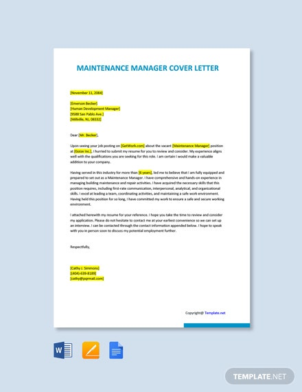 Free Maintenance Manager Cover Letter Template