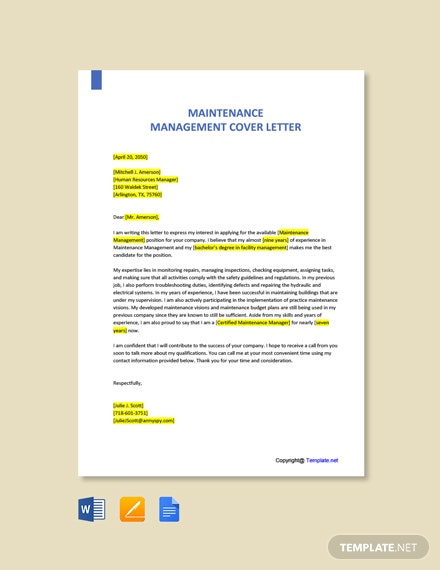 Free Maintenance Management Cover Letter Template