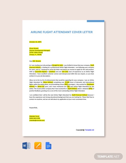 Free Airline Flight Attendant Cover Letter Template