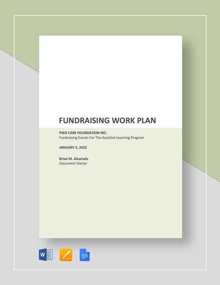 fundraising work plan