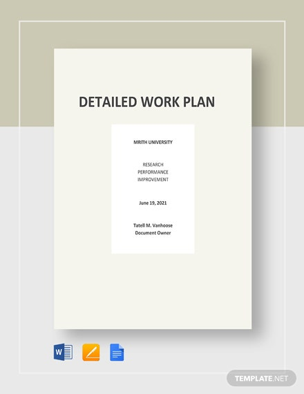Detailed Work Plan Template
