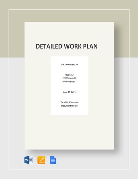 Detailed Work Plan Template