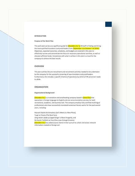 Basic Work Plan Template Download