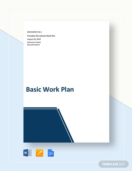 Free Basic Work Plan Template