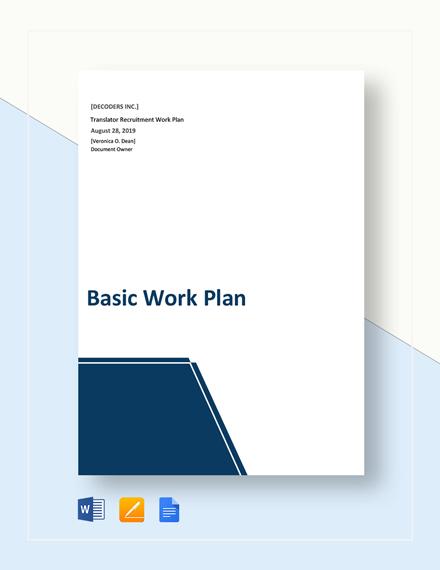 Free Basic Work Plan Template