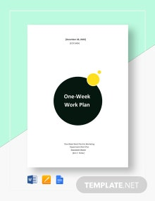 1 Week Work Plan Template