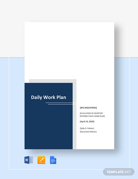 Daily Work Plan Template