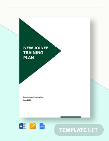 New Joinee Training Plan Template