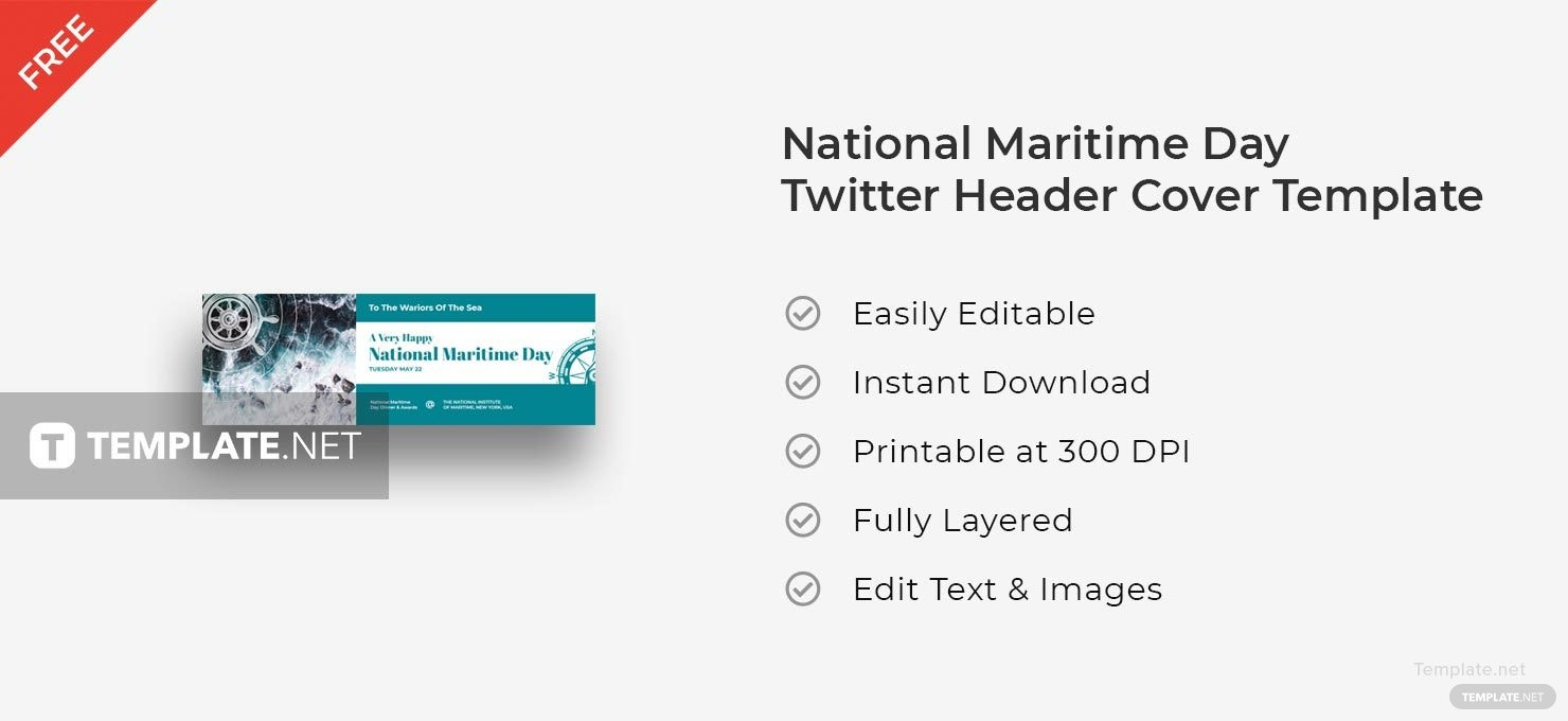 National Maritime Day Twitter Header Cover Template in Adobe ...