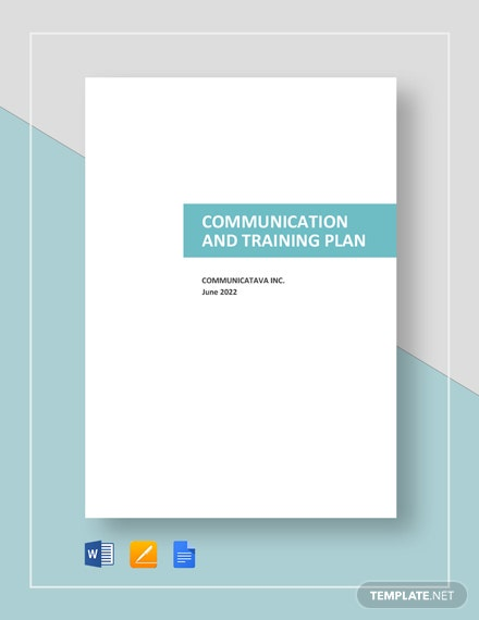 Communication and Training Plan Template