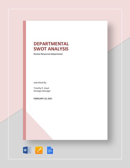 Departmental SWOT Analysis Template