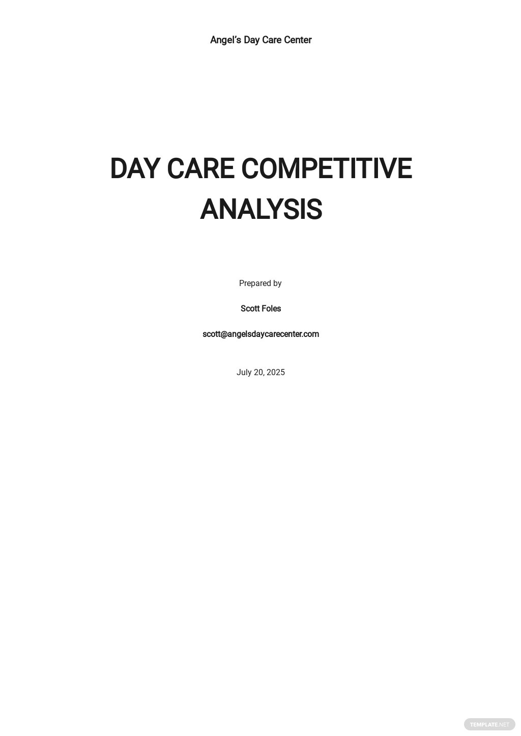 Day Care Competitive Analysis Template