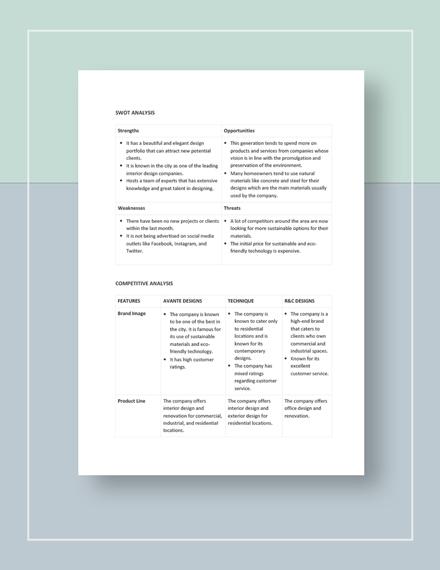 Interior Design Competitive Analysis Download